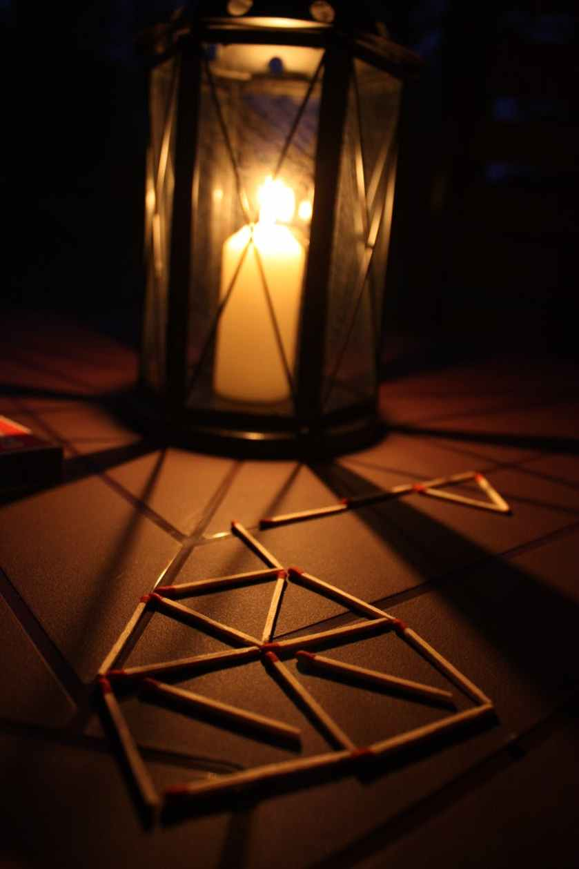 night dark candle matches
